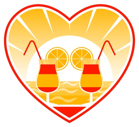 cocktails on the beach in heart Vector