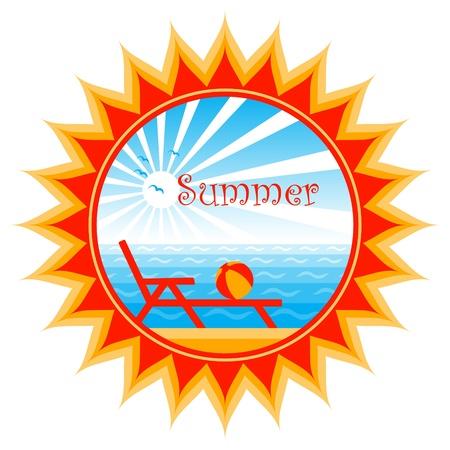 strand scène in de zon Stock Illustratie