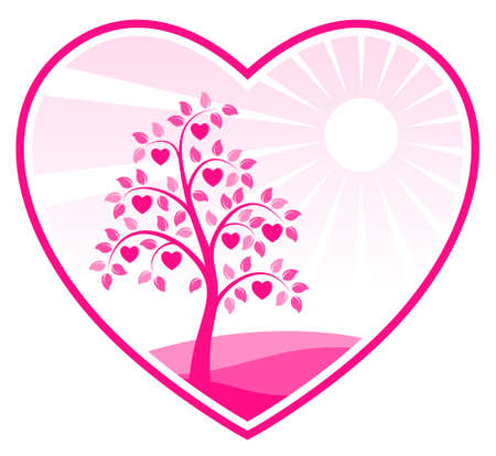 heart tree in heart Vector