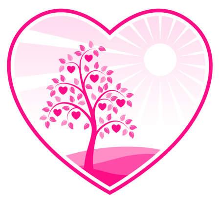 heart tree in heart Vector