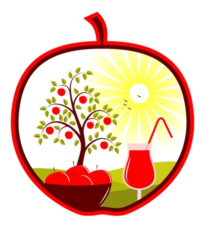 bowl of apples and apple juice in apple Vector