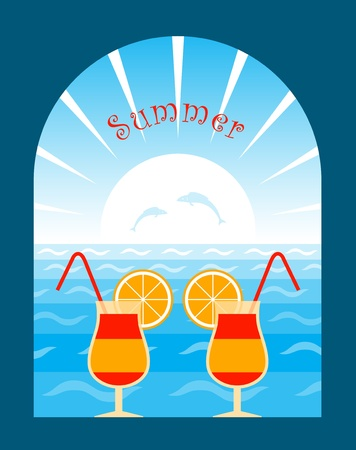summer background with cocktails Stock Vector - 9720027