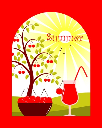 background with bowl of cherries and cherry juice Vector