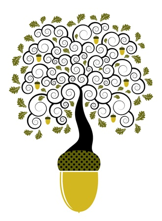 abstract oak tree growing from acorn Illustration