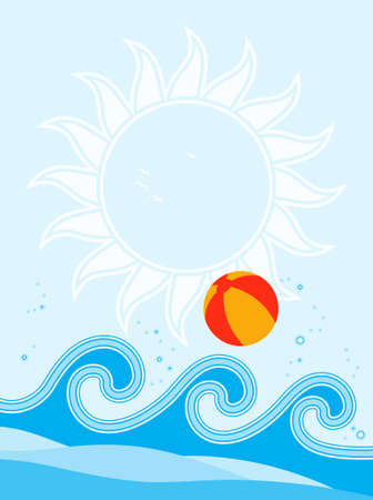 waves and beach ball background Vector