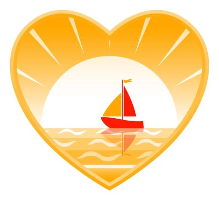 sailboat floating on the sea in heart Vector
