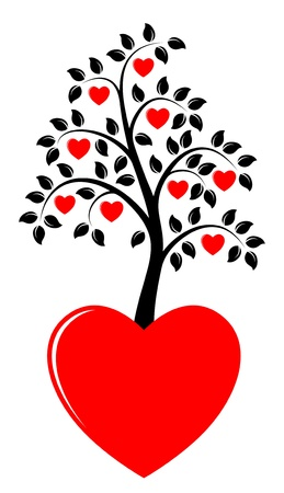 heart tree growing from heart Vector