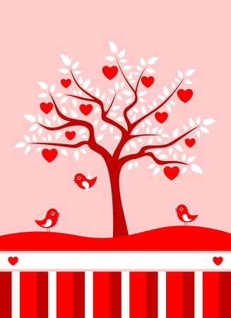 heart tree background Vector