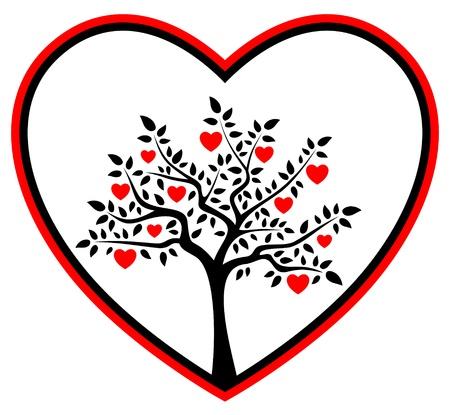 hart boom in het hart Stock Illustratie