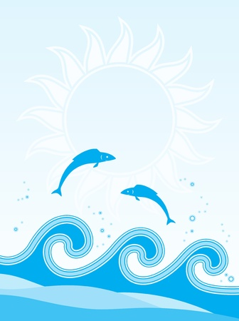fishes jumping over the waves