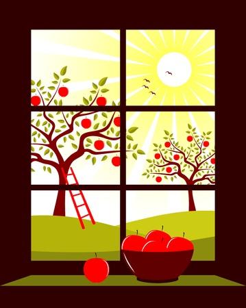 appelboomgaard buiten het venster