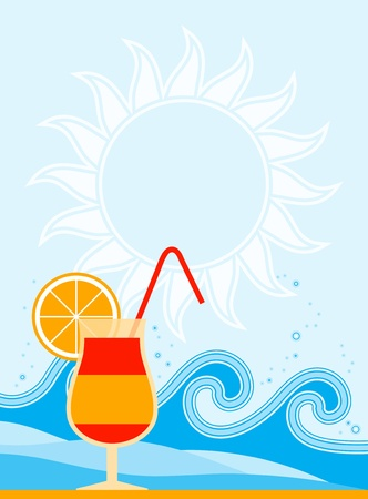 summer background with cocktail and waves Vector