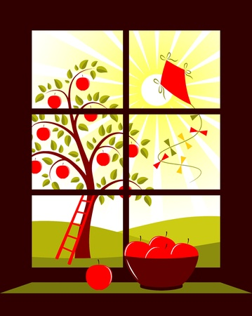 apple tree and kite outside the window Vector