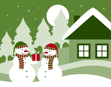 Christmas card with pair of snowmen Stock Vector - 9923395