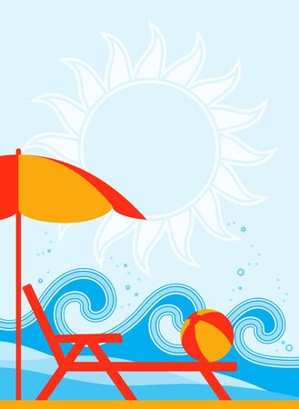 background with deck chair under umbrella on the beach Vector