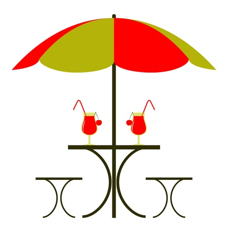 table with umbrella Vector