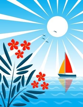 laurier rose: Laurier et voilier flottant sur la mer. Illustration