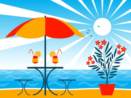 beach bar scene Stock Vector - 10070022