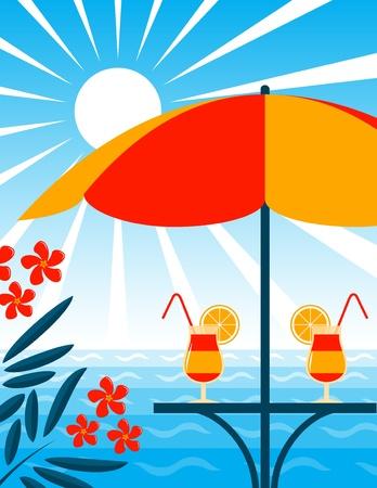 laurier rose: sc�ne de bar de plage