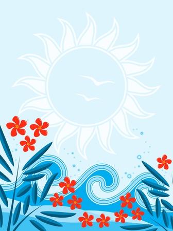 oleander: background with oleander and waves Illustration