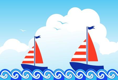 deportes nauticos: barcos de vela flotando en el mar