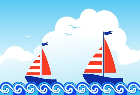 sailboats floating on the sea Vector