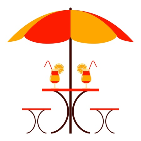 table with umbrella on white background Vector