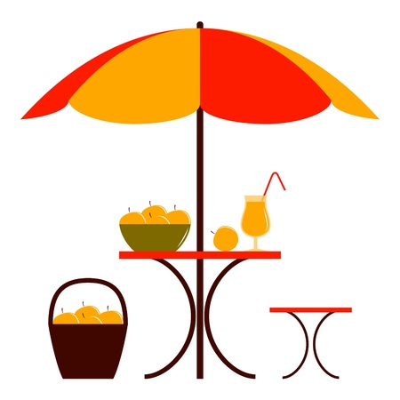 table with umbrella, apple juice and apples on white background Vector