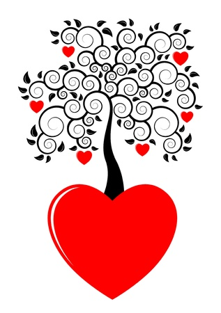 red trees: heart tree growing from heart on white background Illustration