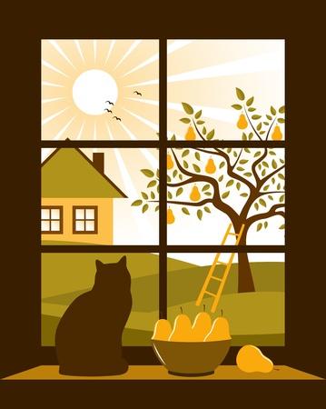 haus garten: Birnbaum und H�tte drau�en vor dem Fenster