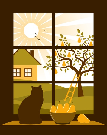 pear tree and cottage outside the window Vector