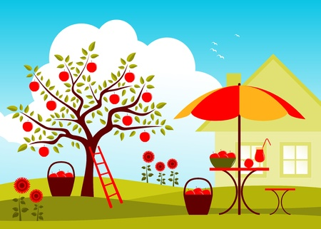 table and chair with umbrella in garden