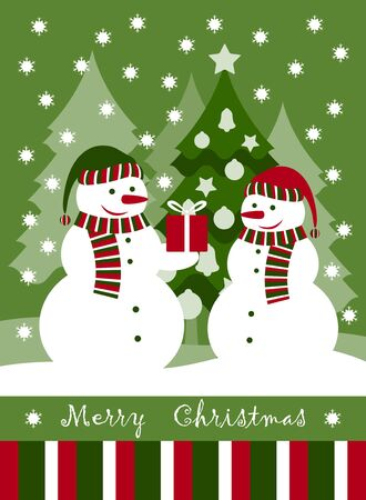 Christmas card with pair of snowmen Vector