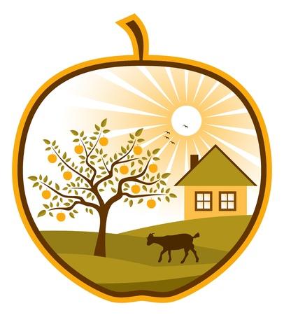 landelijke scène in apple op witte achtergrond