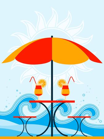 background with beach umbrella and drinks on table Vector