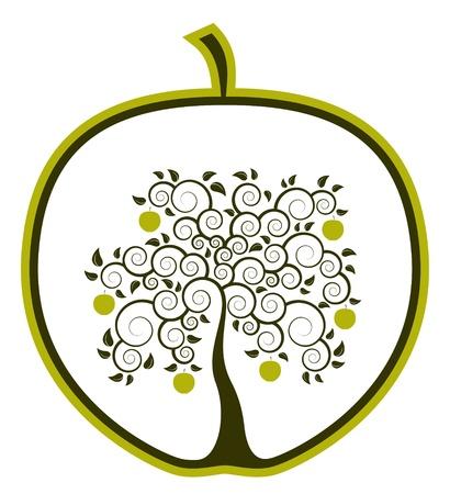 apple tree in apple on white background Illustration