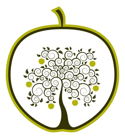 apple tree in apple on white background Illustration