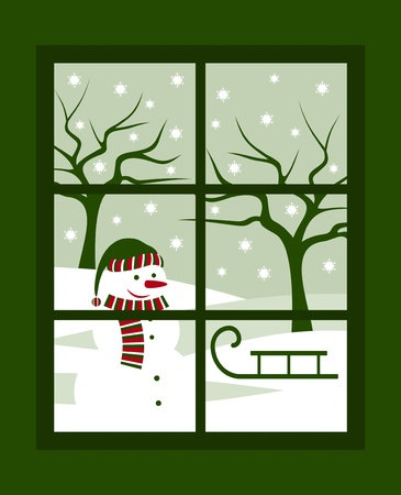 winter landscape outside the window Stock Vector - 10673395