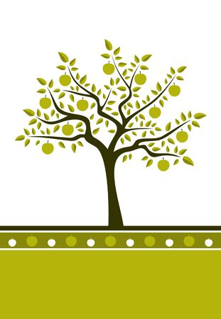 background with apple tree Vector