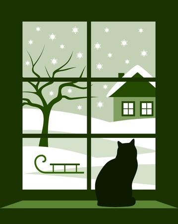 vista ventana: paisaje invernal de vector fuera de la ventana