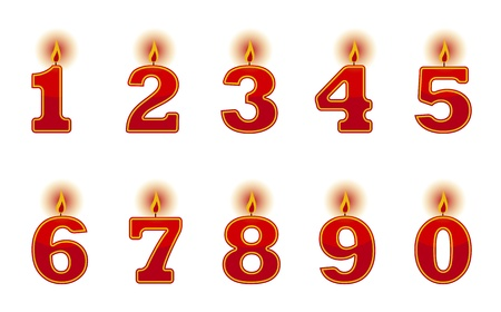 four objects: number candles on white background Illustration