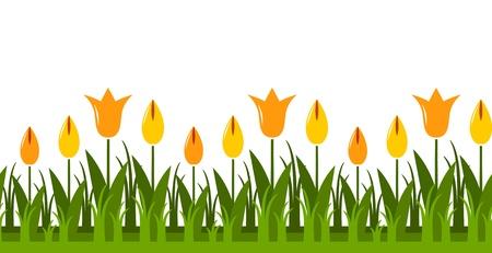 clump: seamless tulips border Illustration