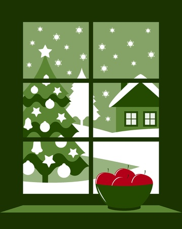 wooden window: vector christmas tree outside window