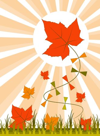 vector leaf kite and fallen leaves Stock Vector - 10877395
