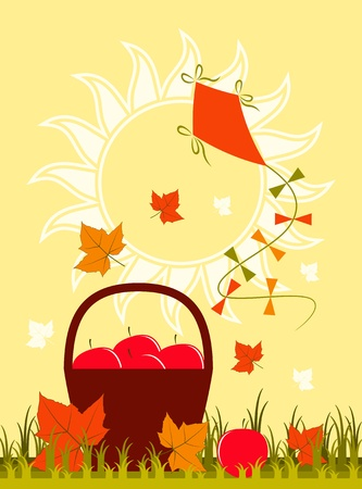 basket of apples, fallen leaves and kite Vector