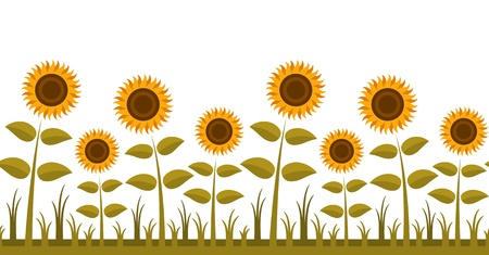 seamless sunflowers border Vector