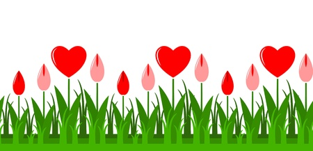 seamless heart flowers border Vector