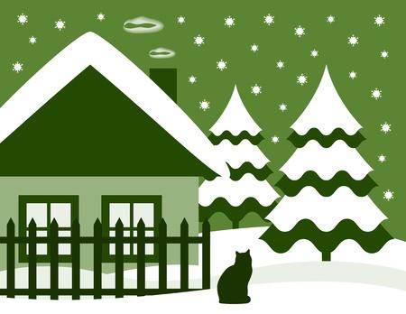 cottage fence: winter landscape Illustration