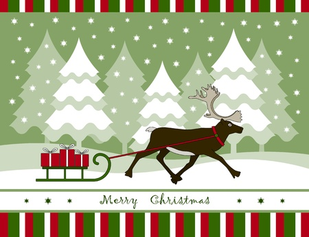 vector christmas card with reindeer pulling sledge with gifts Ilustracja