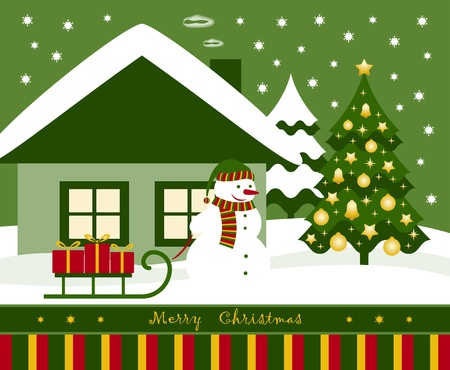 vector christmas card with snowman pulling sledge with gifts Vector